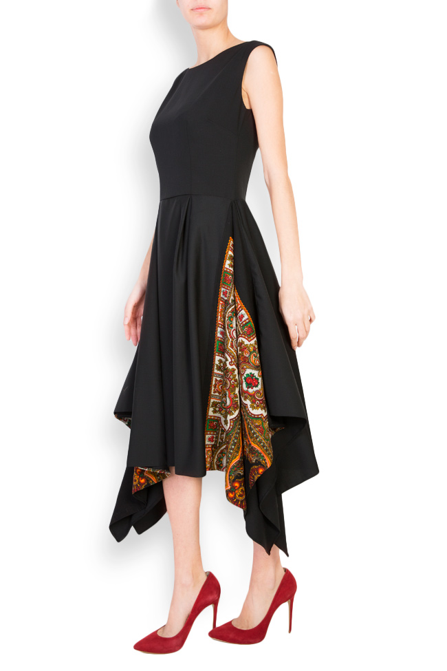 Asymmetric floral-print wool dress Oana Manolescu image 1