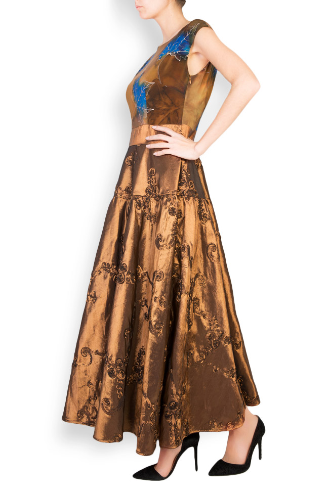Hand-painted silk-blend taffeta midi dress Oana Manolescu image 1