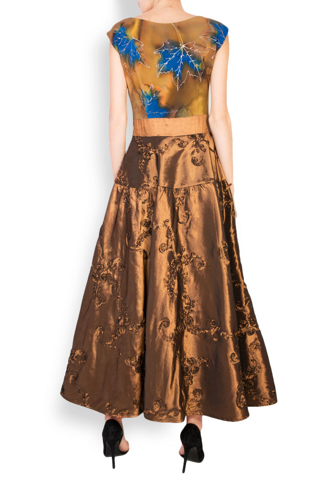 Hand-painted silk-blend taffeta midi dress Oana Manolescu image 2
