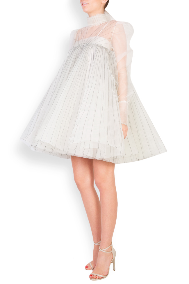 Pleated silk organza mini dress LUWA image 1