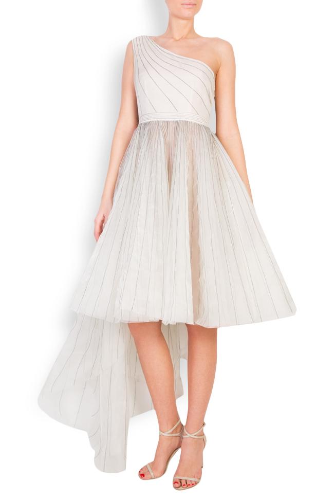 One-shoulder pleated silk organza midi dress LUWA image 0