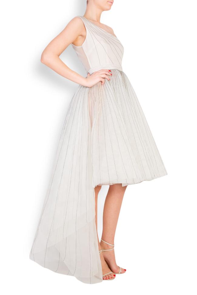 One-shoulder pleated silk organza midi dress LUWA image 1