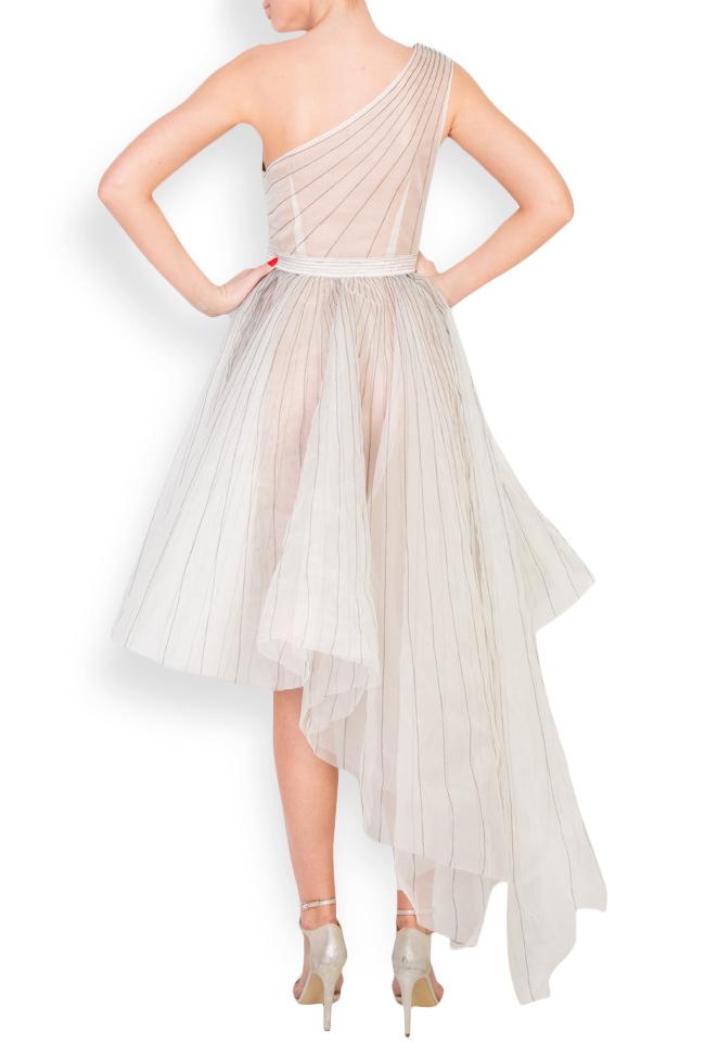 One-shoulder pleated silk organza midi dress LUWA image 2
