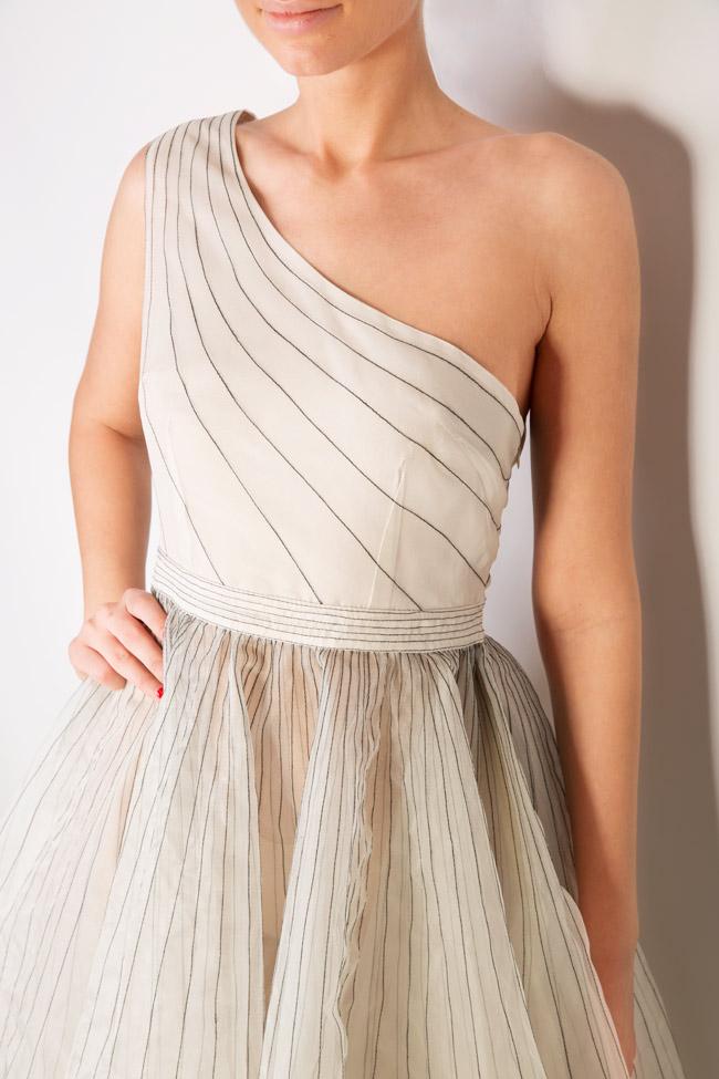 One-shoulder pleated silk organza midi dress LUWA image 3
