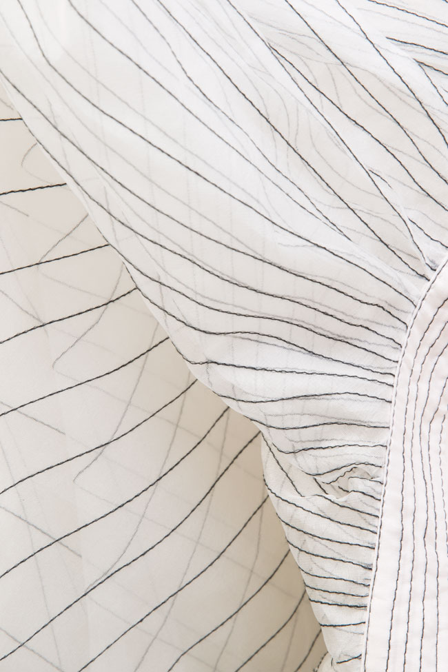 One-shoulder pleated silk organza midi dress LUWA image 4