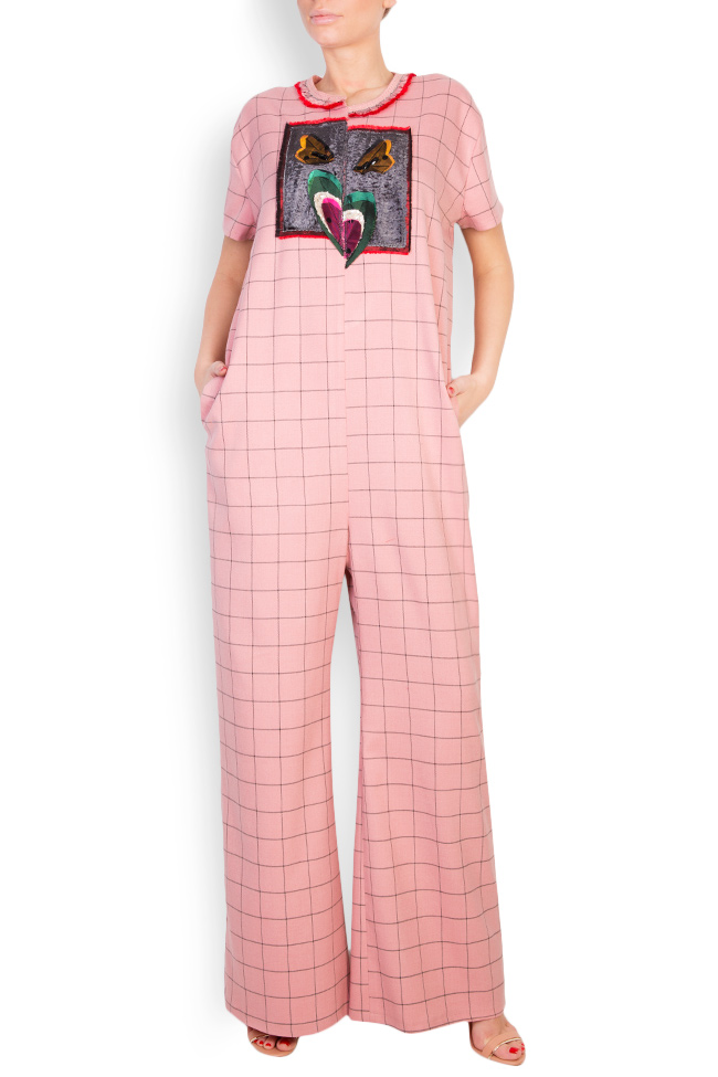 Embellished checked cady jumpsuit Marius Musat image 0
