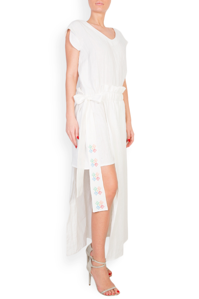 Asymmetric embroidered linen dress Maressia image 1