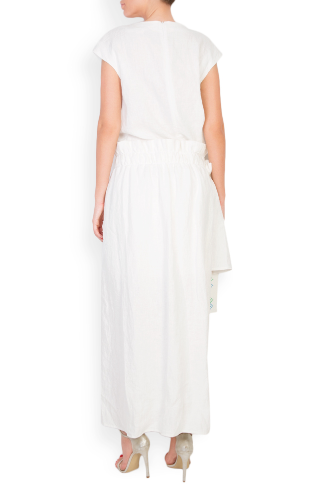 Asymmetric embroidered linen dress Maressia image 2