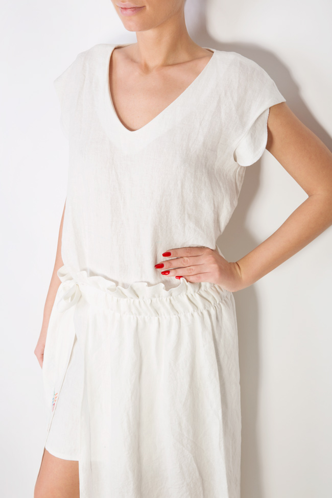 Asymmetric embroidered linen dress Maressia image 3