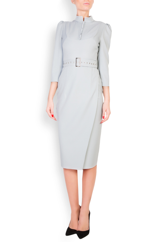 Wrap-effect belted crepe midi dress Mariana Ciceu image 0