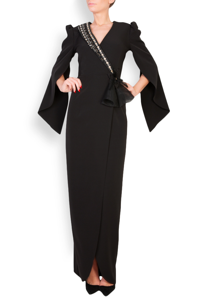 Embellished cape-effect crepe gown Mariana Ciceu image 0