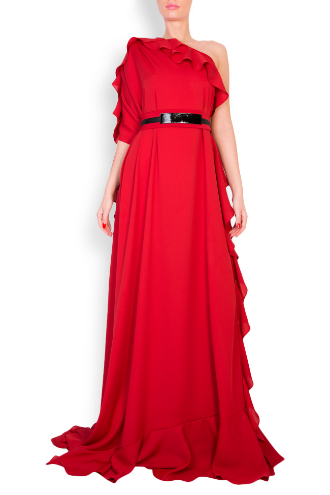 One-shoulder belted crepe gown Anca si Silvia Negulescu image 0