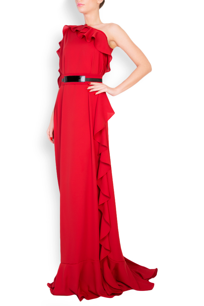 One-shoulder belted crepe gown Anca si Silvia Negulescu image 1