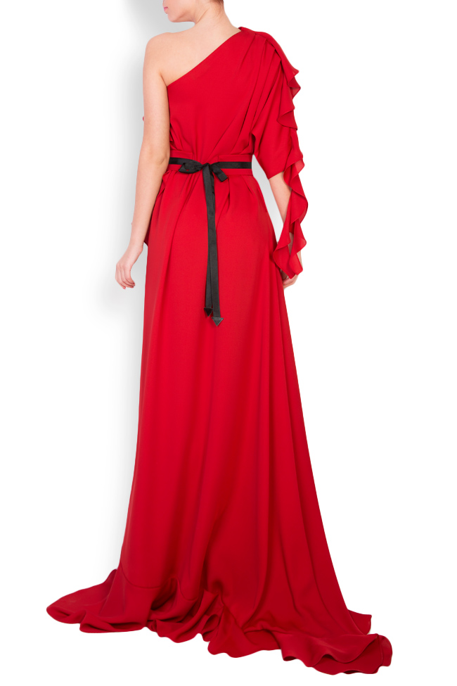 One-shoulder belted crepe gown Anca si Silvia Negulescu image 2