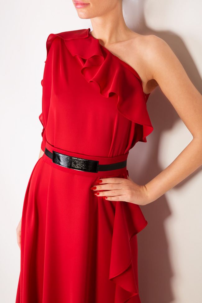 One-shoulder belted crepe gown Anca si Silvia Negulescu image 3