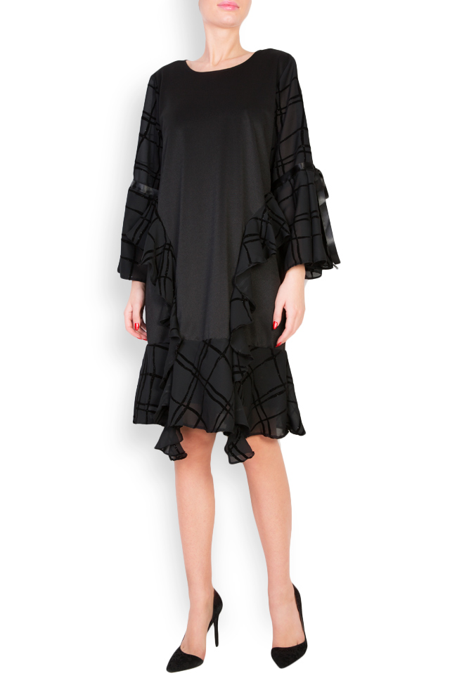 Asymmetric ruffled checked crepe de chine dress Anca si Silvia Negulescu image 0