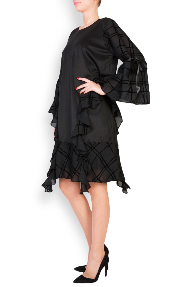 Asymmetric ruffled checked crepe de chine dress Anca si Silvia Negulescu image 1