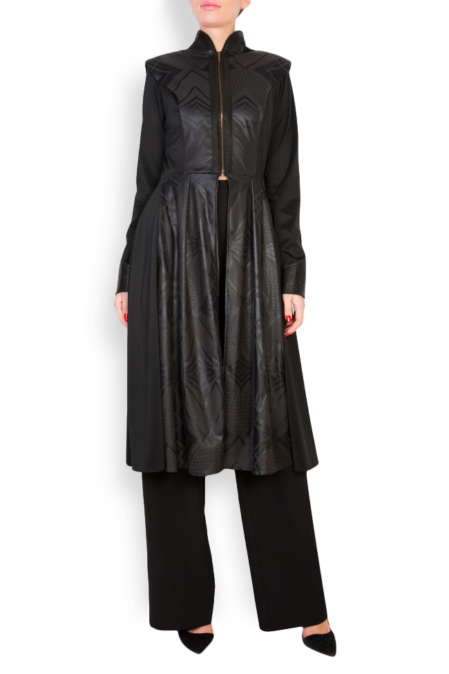 Leather-trimmed crepe coat  Anca si Silvia Negulescu image 0