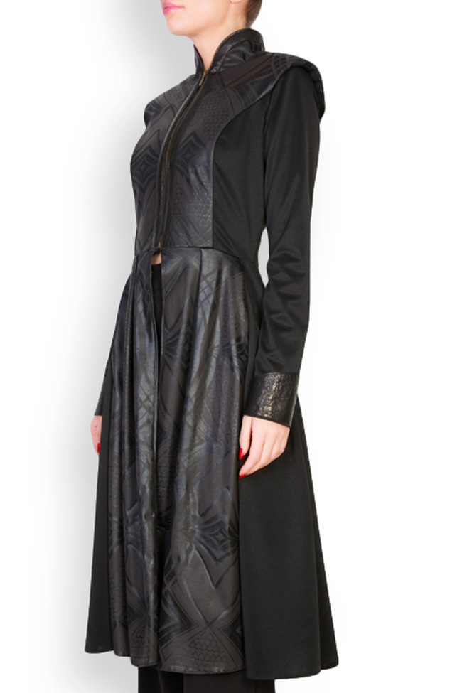 Leather-trimmed crepe coat  Anca si Silvia Negulescu image 1