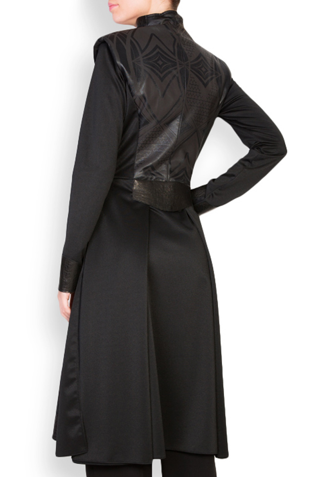 Leather-trimmed crepe coat  Anca si Silvia Negulescu image 2