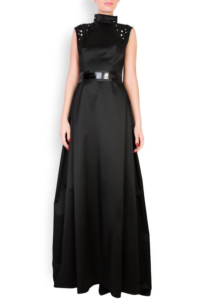 Embellished leather-paneled satin taffeta maxi dress Anca si Silvia Negulescu image 0
