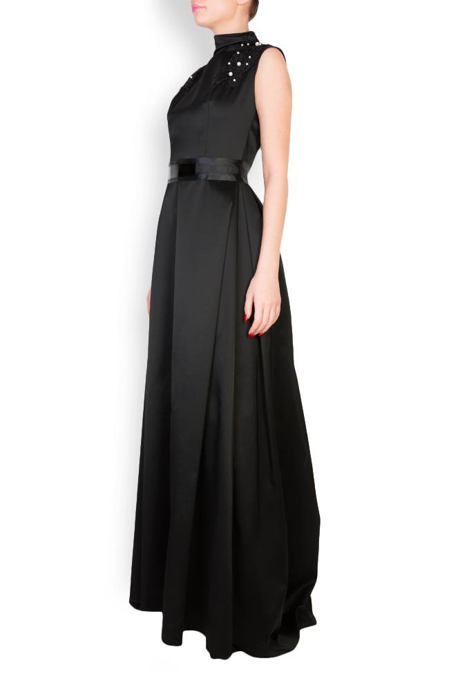 Embellished leather-paneled satin taffeta maxi dress Anca si Silvia Negulescu image 1