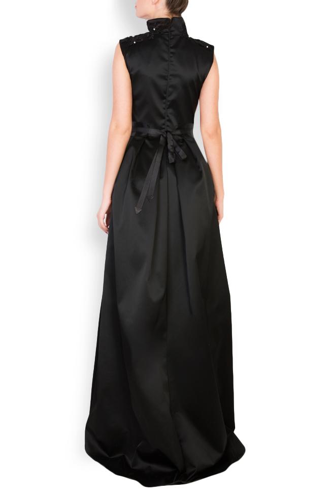 Embellished leather-paneled satin taffeta maxi dress Anca si Silvia Negulescu image 2