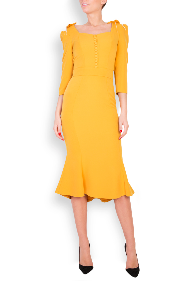Embroidered feather-trimmed midi crepe dress Mariana Ciceu image 0