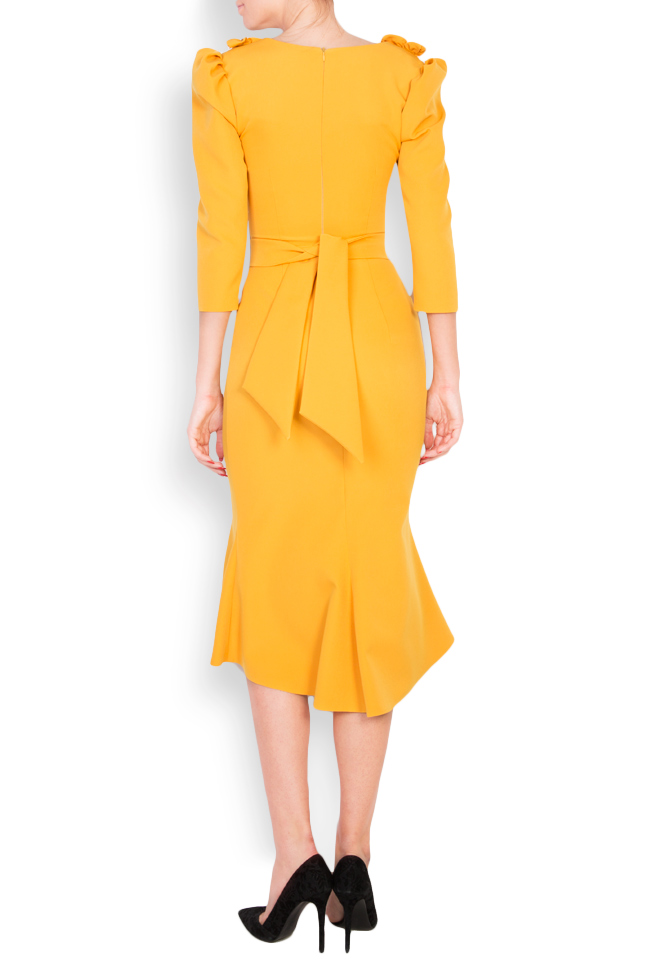 Embroidered feather-trimmed midi crepe dress Mariana Ciceu image 2