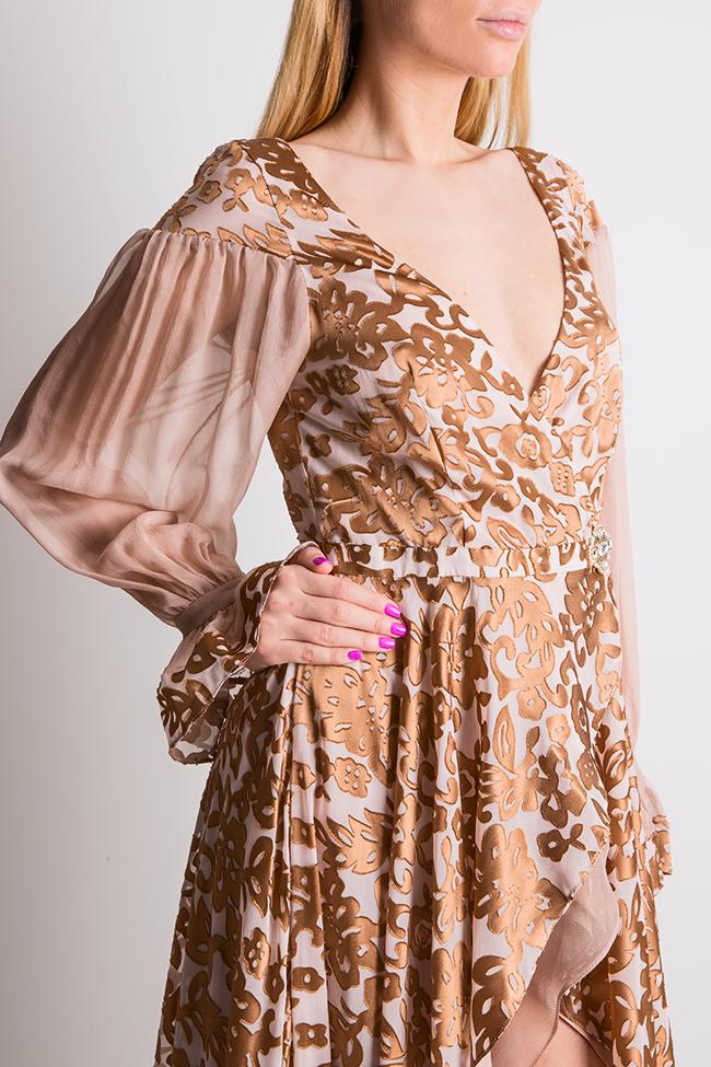 Rochie asimetrica din matase imprimata cu accesorii din cristal Elena Perseil imagine 3