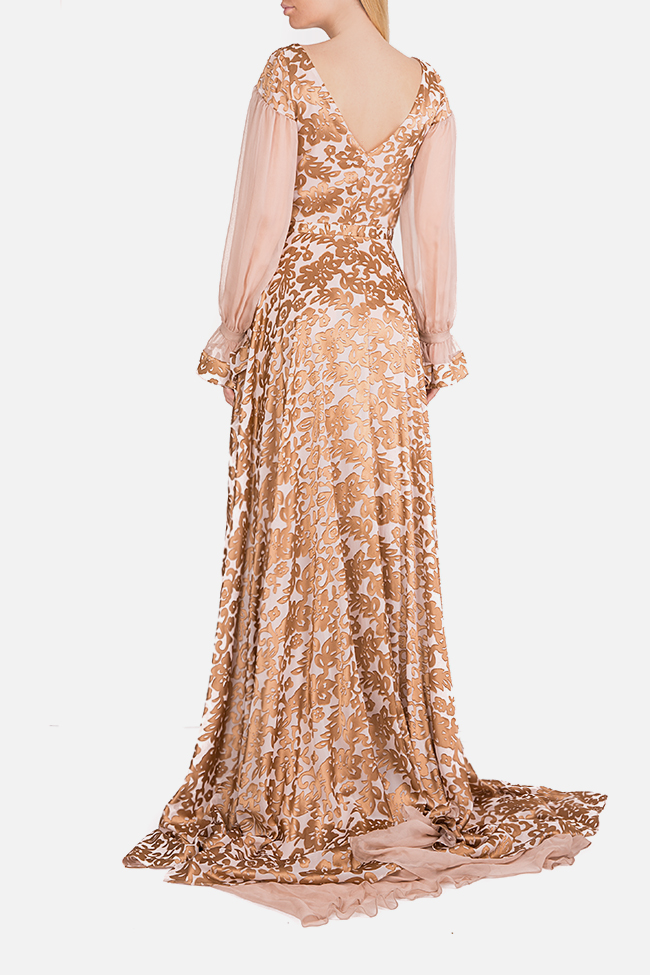 Embellished silk asymmetric maxi dress Elena Perseil image 2