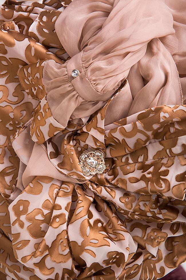 Rochie asimetrica din matase imprimata cu accesorii din cristal Elena Perseil imagine 4