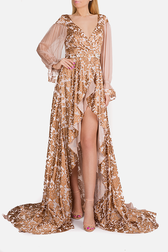 Embellished silk asymmetric maxi dress Elena Perseil image 0