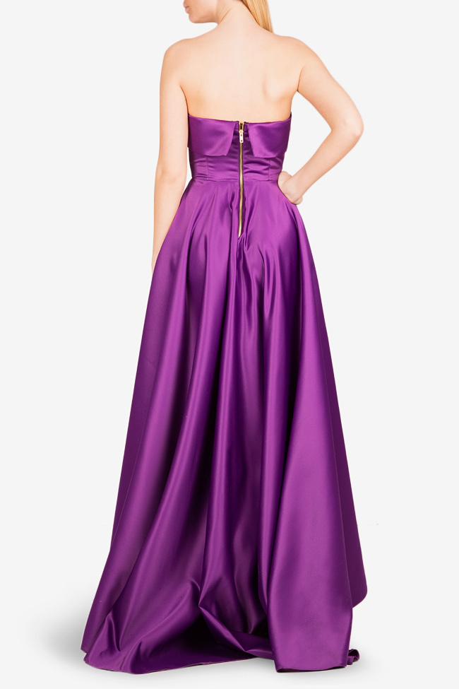 Asymmetric taffeta gown Cloche image 2