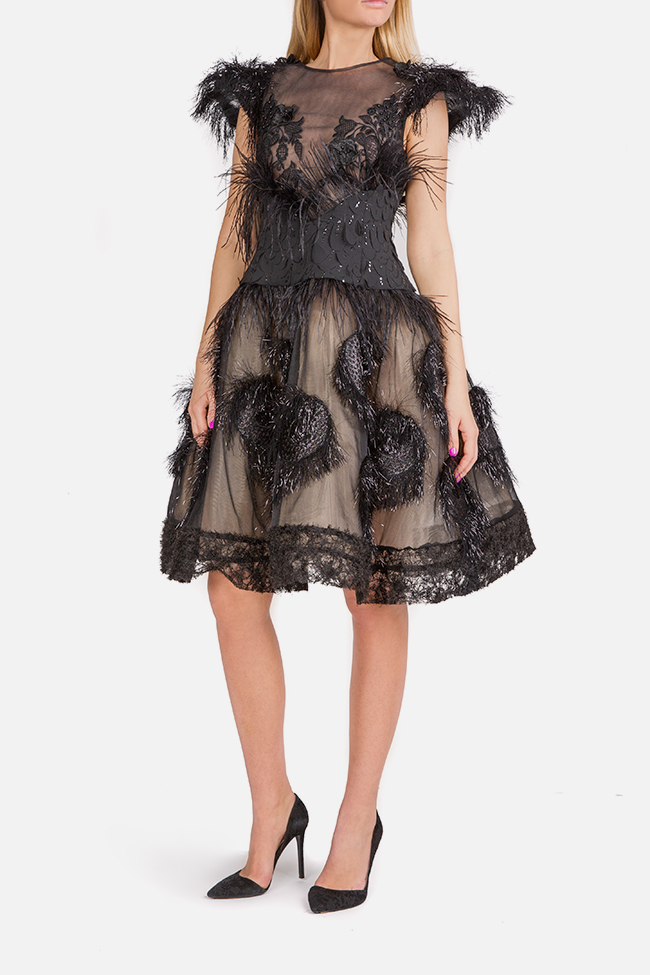 Feather-trimmed tulle and silk-blend mini dress Elena Perseil image 0