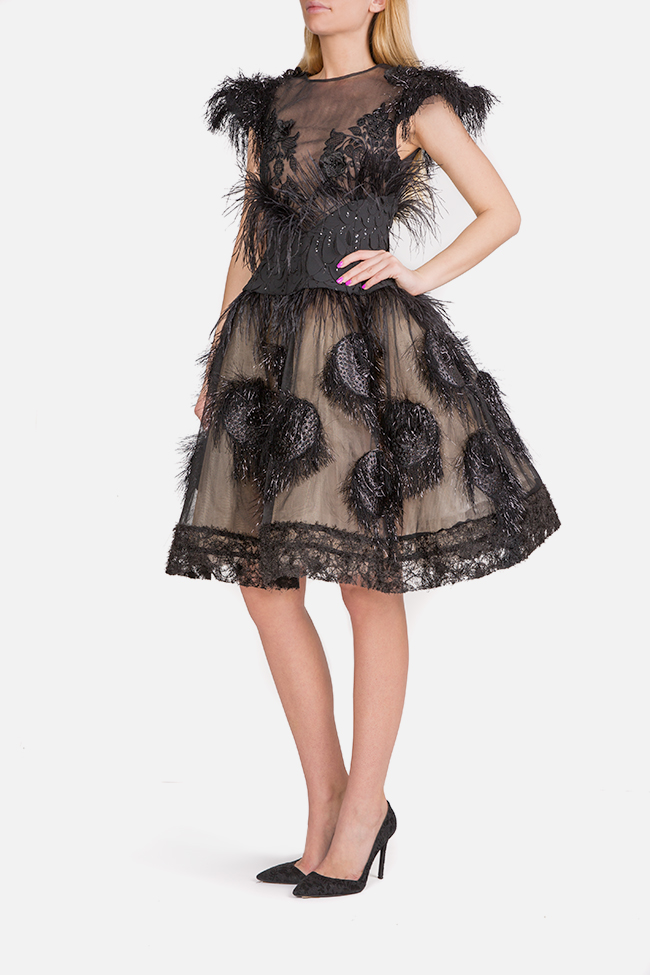 Feather-trimmed tulle and silk-blend mini dress Elena Perseil image 1
