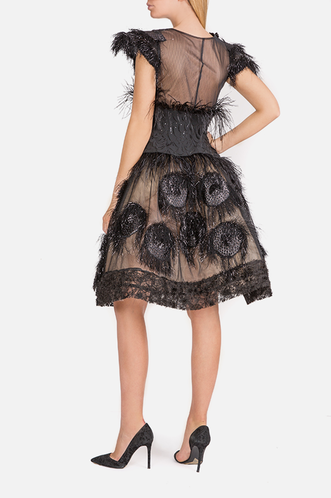 Feather-trimmed tulle and silk-blend mini dress Elena Perseil image 2