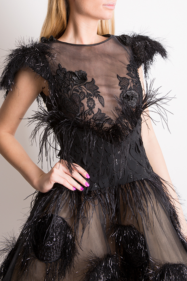 Feather-trimmed tulle and silk-blend mini dress Elena Perseil image 3