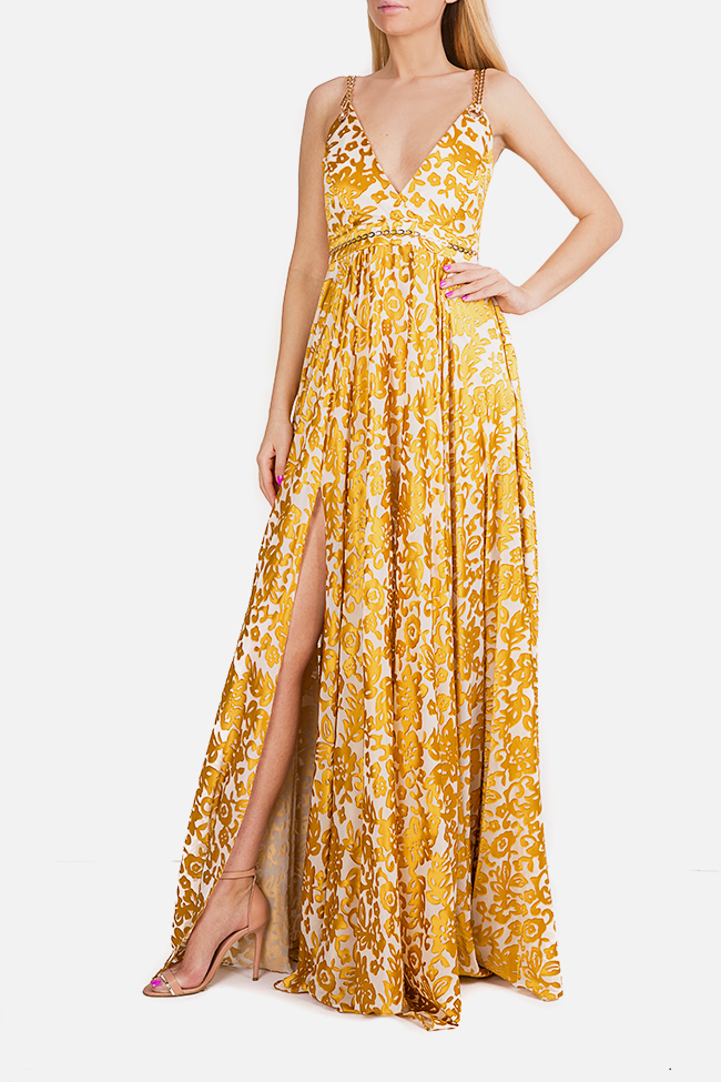 Chain-embellished printed silk maxi dress Elena Perseil image 0