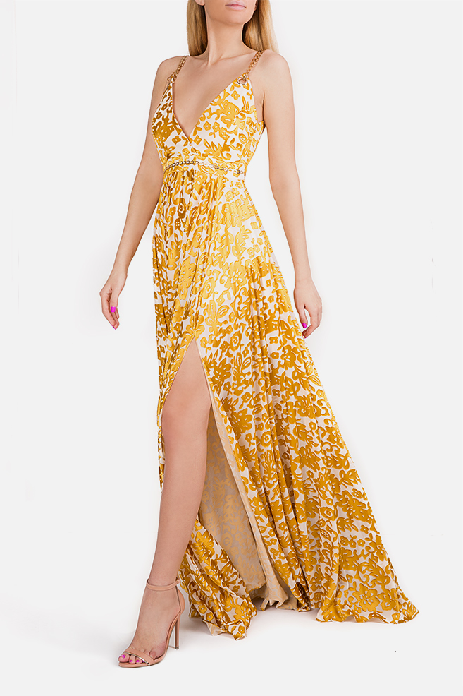 Chain-embellished printed silk maxi dress Elena Perseil image 1