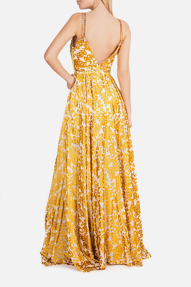 Chain-embellished printed silk maxi dress Elena Perseil image 2