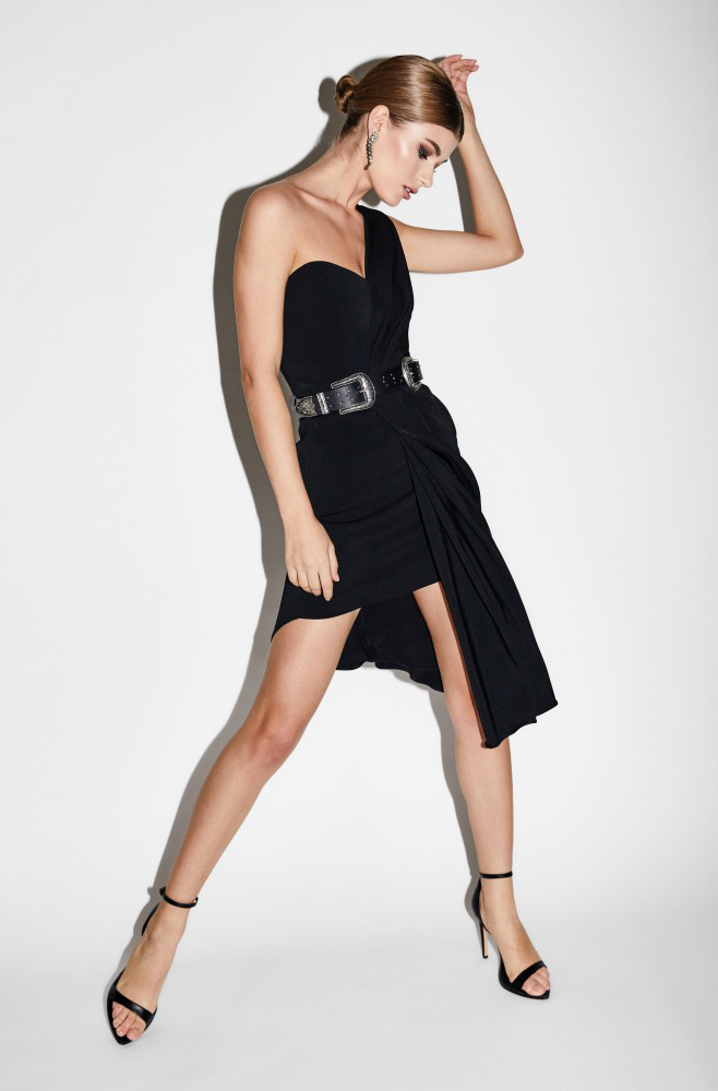 Rave asymmetric crepe midi dress Alina Cernatescu image 4