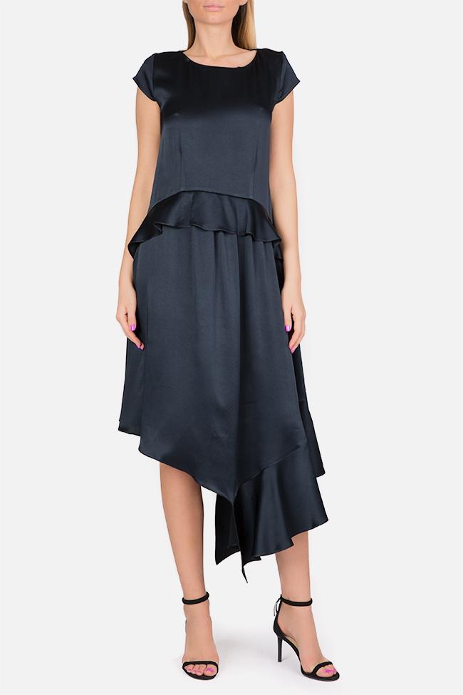 Cotton-blend ruffled satin asymmetric midi dress Bluzat Cocktail image 0