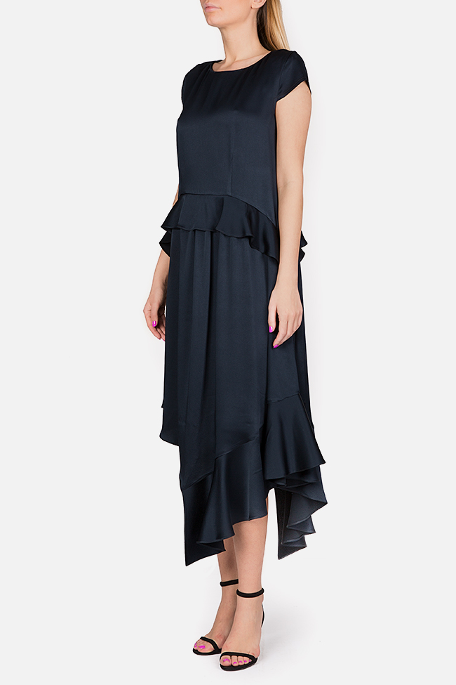 Cotton-blend ruffled satin asymmetric midi dress Bluzat Cocktail image 1