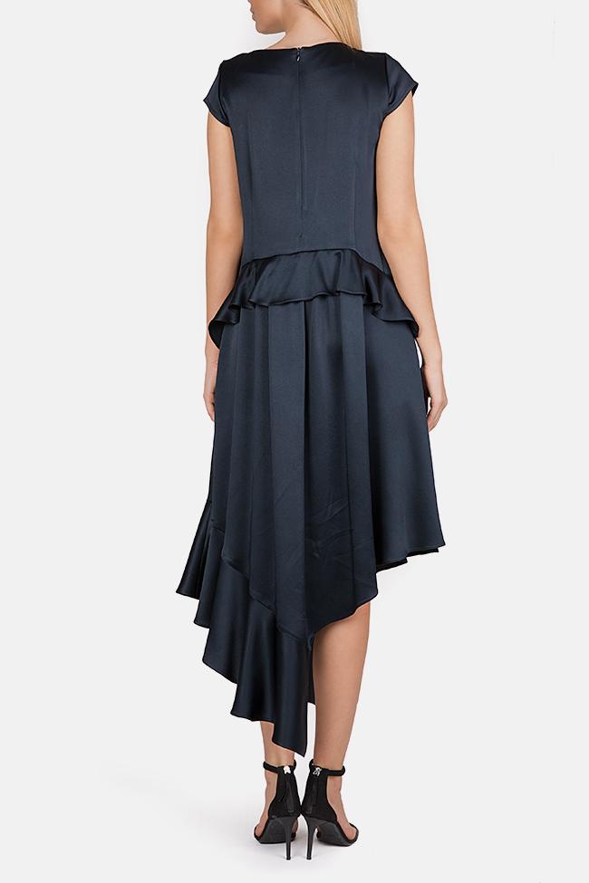 Cotton-blend ruffled satin asymmetric midi dress Bluzat Cocktail image 2