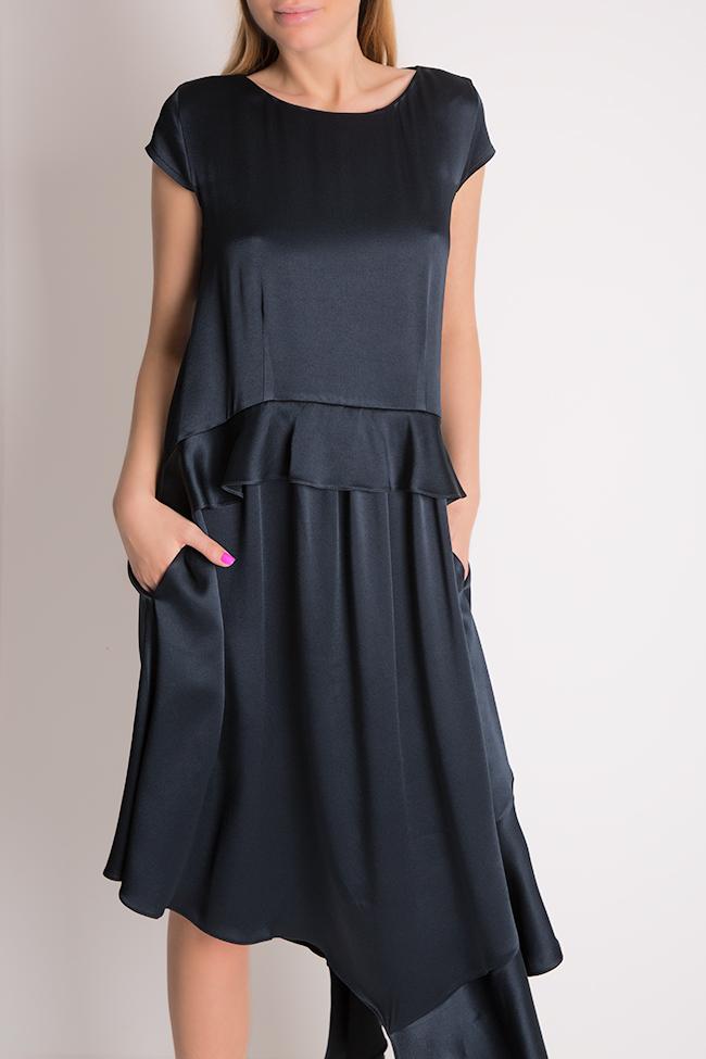 Cotton-blend ruffled satin asymmetric midi dress Bluzat Cocktail image 3