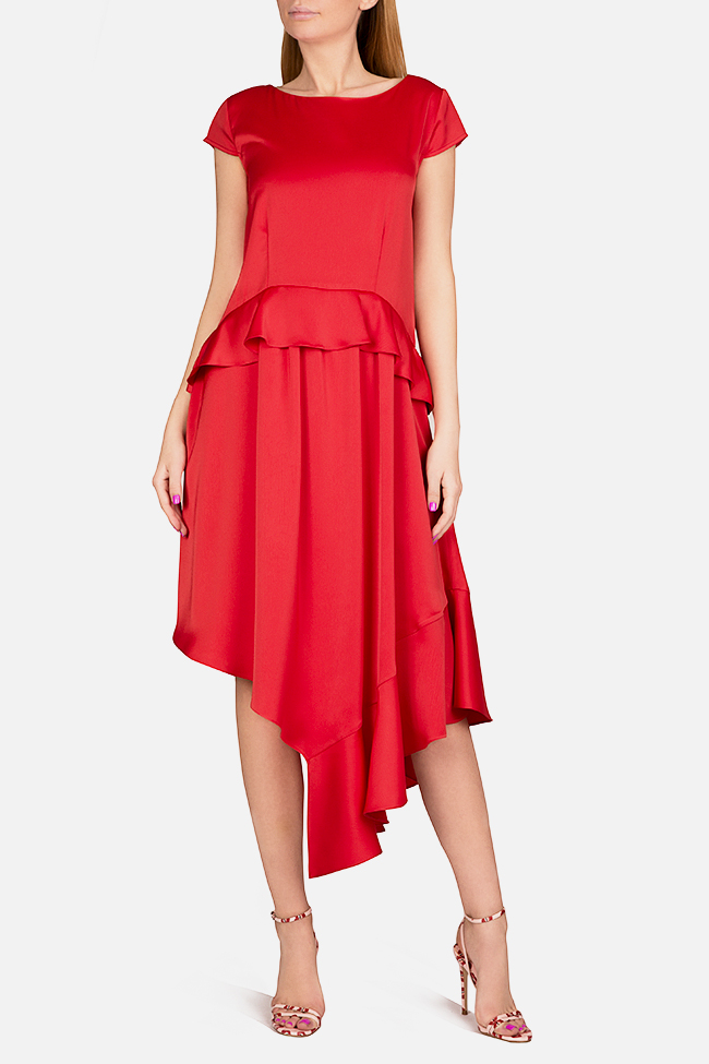 Cotton-blend ruffled satin asymmetric midi dress Bluzat Cocktail image 0