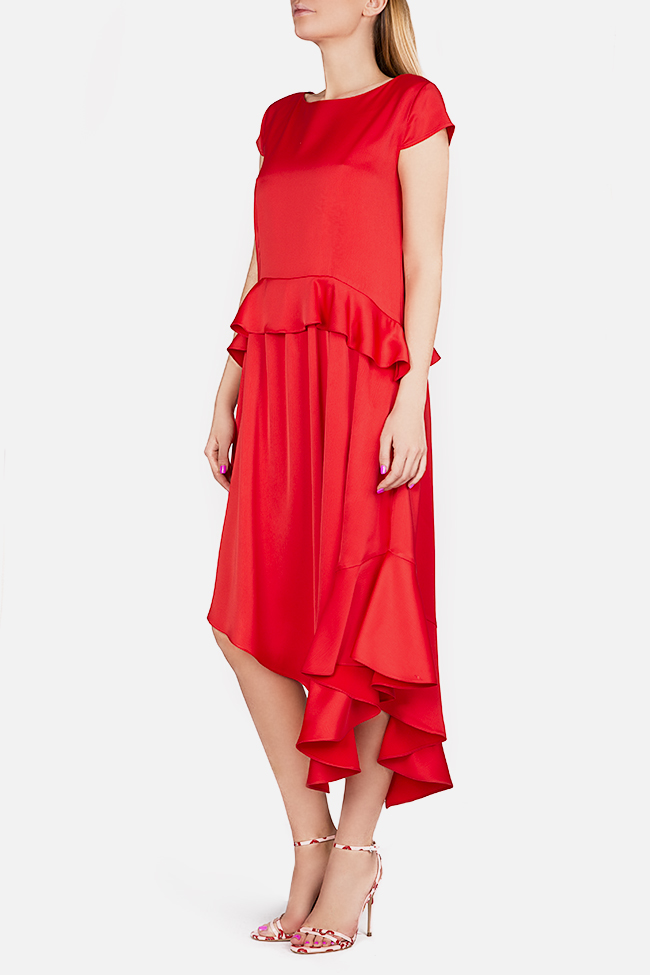 Cotton-blend ruffled satin asymmetric midi dress Bluzat Cocktail image 1