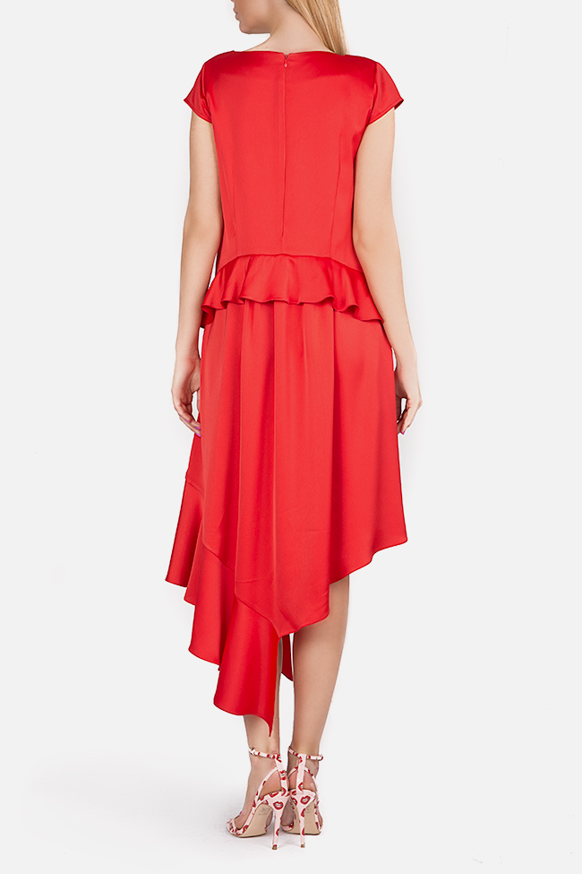 Cotton-blend ruffled satin asymmetric midi dress Bluzat Cocktail image 2