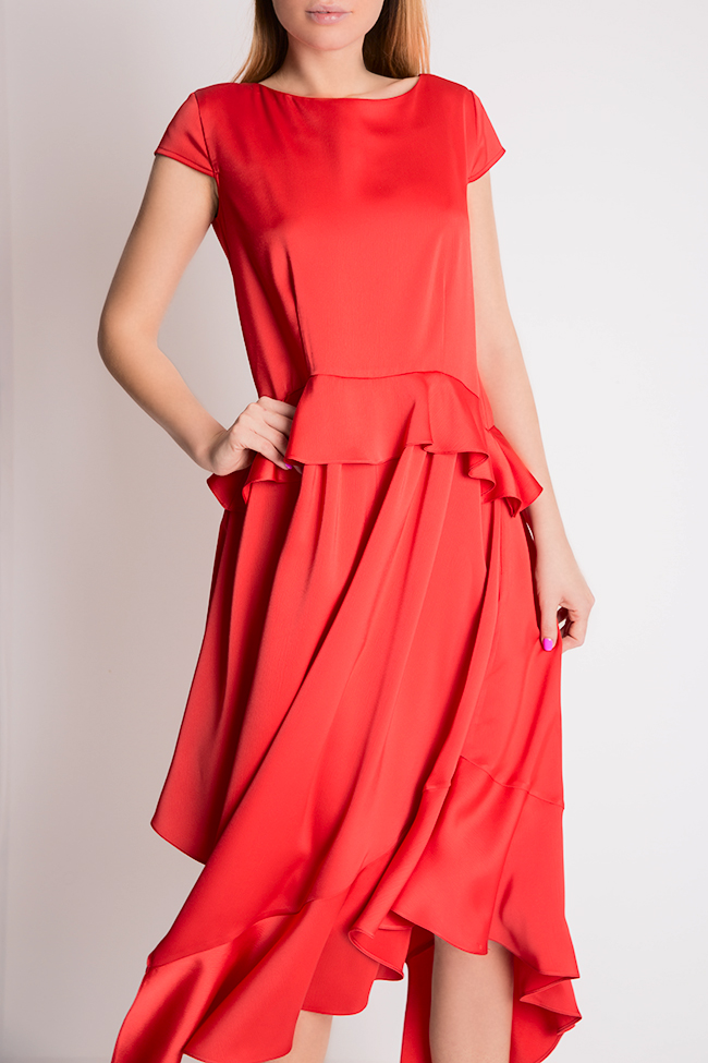 Cotton-blend ruffled satin asymmetric midi dress Bluzat Cocktail image 3